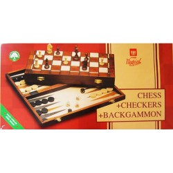 Chess, Backgammon & Checkers in one - (Medium set) (CCB-2)