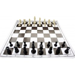 10x Plastic chess pieces no. 4 and Rolled chessboard ( Z-13 )
