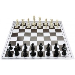 10 x Set of Plastic Chess PIeces Staunton no. 6 and Rolled Chessbooard no. 6 (Z-6)