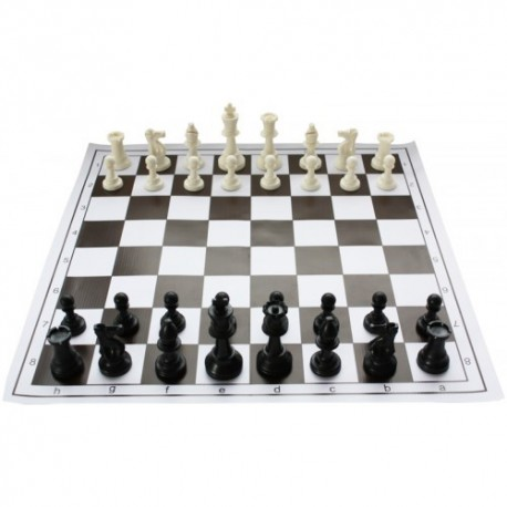 Rolled Chess Board No. 6 with plastic figures Staunton no. 6