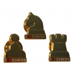 "Buttons ""I LOVE CHESS"" in shape of chess pieces - gold color (A-70)"