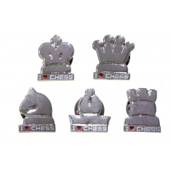 """Buttons """"I LOVE CHESS"""" in shape of chess pieces - silver color (A-71)"""