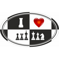 "Sticker ""I LOVE CHESS"" (2 pattern) (A-93)"