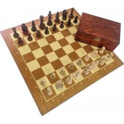 Set of Staunton chess figures in a box + wooden chessboard tournament standard (Z-34)