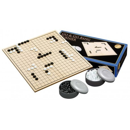 Set: Folding wooden Goban + stones to GO (G-4)