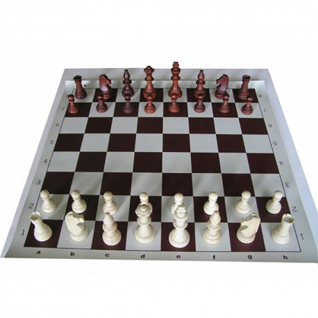 6x Club Set (Z-24) of Wooden Chess Pieces Staunton No. 5 and Rolled Chessboard No. 5