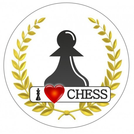 Button I LOVE CHESS - pieces