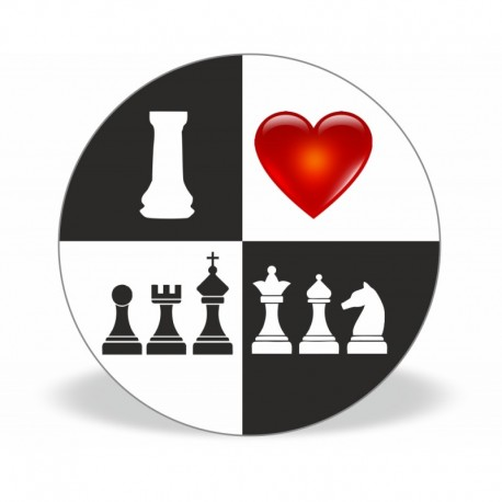 Magnet I Love Chess b/w (A-87)