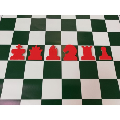 Red magnetic chess pieces for demonstration chessboard