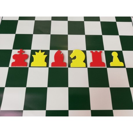 Laminated, magnetic red and yellow chess pieces for demonstration chessboard (S-188)