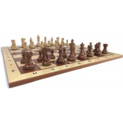 Exclusive Chess Set No. 2 - Amercian pieces + light mahogany, inlaid chessboard + wooden box (S-201)